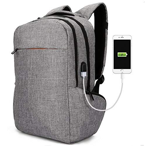 """Laptop Backpack Anti-Theft School Backpacks 17"""", Tocode Unique Travel Rucksack with USB Charging Port Business Computer Bags Bookbags Daypack for Men and Women, Gray 01"""