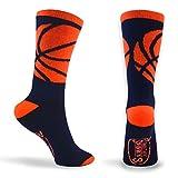 Basketball Sock   Athletic Mid Calf Woven Socks   Basketball Wrap   Navy and Neon Orange