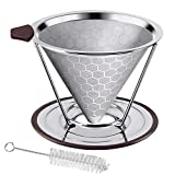 Pour Over Coffee Dripper, Stainless Steel Coffee Filter Removable Dripper With Stand, Reusable Cone Dripper, 100% Paperless & Eco-Friendly, Works With Carafe