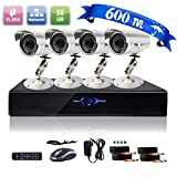 4CH H.264 Onvif CCTV DVR with 4 x 600TVL Night Vision Bullet Cameras (Cloud-Based Remote Access, Smart Motion Detection, Email Alert, Home Security System)