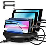 Charging Station, AHRISE Docking Station with 4 USB Ports and Phone Dock Stand Compatible Samsung, iPhone, Ipad, 6.8A/34W, 6-pcs Cables Included, ETL Certified, Black