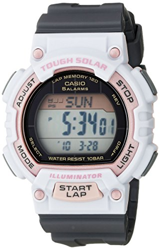 Round sport watch with digital display featuring five daily alarms, LED light, and 12/24 hour formats 49 mm resin case with mineral dial window Quartz movement with digital display