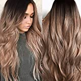 2019 JJLIKER Nature Brown Gray Wavy Long Wigs Hair Mixed Colors Heat Resistant Fiber Ombre Black Rooted Wigs for Women