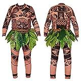 Unisex Maui Tattoo Clothing/Maui Suit Pants Halloween Adult Maui Men's Women's Cosplay Costume (XXL, Brown)