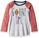 Mud Pie Boys' Little Thanksgiving Gobble Time Football Long Sleeve Raglan T-Shirt, Gray, MD/ 2T-3T