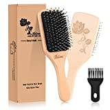 Hair Brush-[Upgraded] Boar Bristle Hair Brush with Detangling Pins for Thick Curly Long Dry or Wet Hair,Natural Wooden Paddle Detangler Brush for Women Men Adding Shine,Hair Brush Cleaner Included