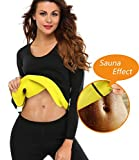 LAZAWG Women Slimming Sweat Long Shirt Weight Loss Neoprene Body Shaper Hot Sauna Suit Shapewear Black,Small