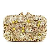 Luxury rhinestone bag openwork metal bag crystal dinner bag set diamond ladies clutch bag cosmetic bag handbag gold length 17.5cm height 11cm thickness 6cm