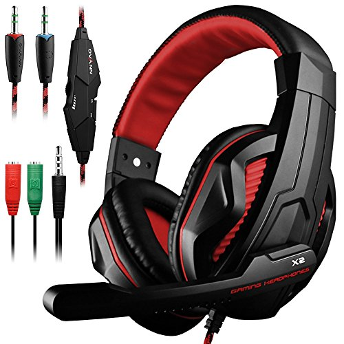 Dland Gaming Headset, 3.5mm Wired Bass Stereo Noise Isolation Gaming Headphones with Mic for Laptop Computer, Cellphone, PS4 and so on- Volume Control (Black and Red)