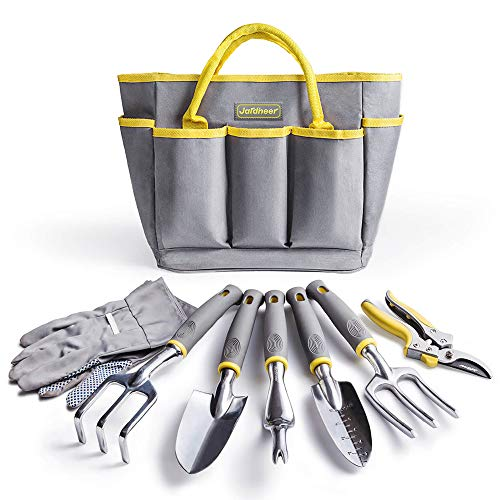 Jardineer Garden Tool Set, 8PCS Gardening Tools Kit with Garden Hand Tools, Gardening Gloves and Garden Tools Bag, Perfect Gardening Tools for Woman and Men