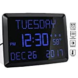Day Clock, 11.5' Extra Large Display LED Digital Desk & Wall Calendar Alarm Day Clock with Date and Time, Battery Backup & 3 Alarms - Perfect for Elderly, Impaired Vision, Seniors, Dementia