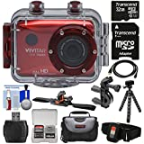 Vivitar DVR786HD 1080p HD Waterproof Action Video Camera Camcorder (Red) with Remote, Vented Helmet & Bike Mounts + 32GB Card + Case + Tripod + Kit