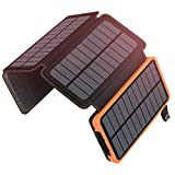 25000mAh Solar Charger ADDTOP Portable Solar Power Bank with Dual 2.1A Outputs Waterproof External Battery Pack Compatible Most Smart Phones, Tablets and More