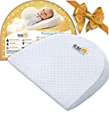 Universal Baby Bassinet Wedge for Acid Reflux, Spit ups, Colic Relief | Elevated Incline Pillow for Better Night Sleep for Newborn| Washable Cotton and Waterproof| Nursery Safe |