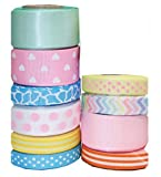 """HipGirl Holiday, Spring, Easter Ribbon -- Pastel. Great for your Easter, Spring Projects (50yd(10x5yd) 3/8"""" - 7/8"""" Easter Ribbon-Pattern May Vary)"""