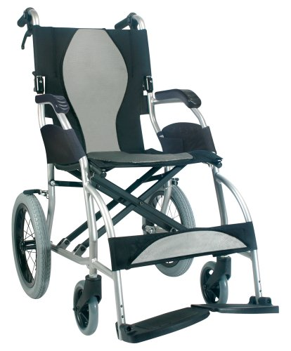 Karman Healthcare S-2501 Ergonomic Ultra Lightweight Transport Chair, Pearl Silver, 18' Seat Width