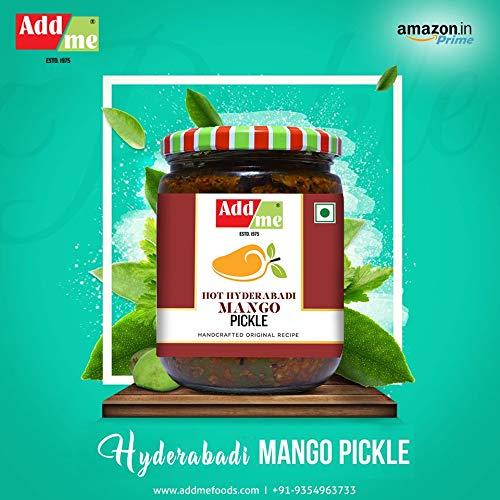 5124fCBKTnL - Add me Hot Mango Pickle in Garlic Masala 1KG, Aam ka achar in lehsun adrak Glass jar 2 x 500gm