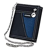 Boy Canvas Sport Wallet, OURBAG Men Casual Trifold Short Wallets Fashion Purse with Chain Black