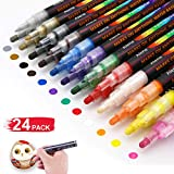 Acrylic Paint Pens - 24 Acrylic Paint Markers for Rock Painting, Stone, Metal, Ceramic, Porcelain, Glass, Wood, Fabric, Canvas.Set of 12 Colors Paint Markers with 3 Different Tip Precision
