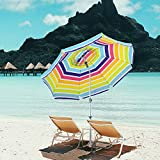 Snail Beach Umbrella, 7 ft Sand Anchor with Tilt Aluminum Pole, Portable Sun ray Protection Beach Umbrella with Carry Bag for Outdoor Patio,Mulit-Color