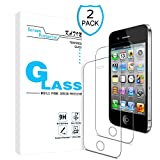 KATIN iPhone 4S Screen Protector - [2-Pack] (Japan Tempered Glass) for Apple iPhone 4S, iPhone 4 Easy to Install, Bubble Free, 9H Hardness with Lifetime Replacement Warranty