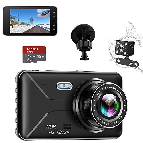 Dual Dash Cam Car Dashboard Camera Recorder FHD 1080P Front and Rear Cameras,Driving Loop Recording,32GB Card,4.0'IPS Screen 170°Wide Angle,WDR,Parking Monitor,G-Sensor,Night Vision,Motion Detection