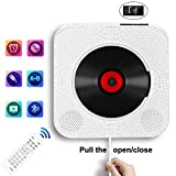 Portable CD Player with Bluetooth, Wall Mountable CD Music Player Home Audio Boombox with Remote Control FM Radio Built-in HiFi Speakers, MP3 Headphone Jack AUX Input Output by Inteli-Topia, White
