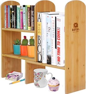 Royal Craft Wood Expandable Natural Bamboo Desk Organizer Accessory - Adjustable Desktop Shelf Rack - Multipurpose Display for Office (Books) | Kitchen Storage (Spice Rack) | Flowers and Plants.