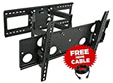 Mount-It! Full Motion TV Wall Mount for 16'', 18'', 24'' Wood Studs, Fits 32' - 65' LCD LED Plasma Flat Screen Curved TVs up to 165 lbs; Includes HDMI Cable (MI-2291)