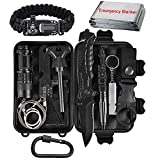 XUANLAN Emergency Survival Kit 13 in 1, Outdoor Survival Gear Tool with Survival Bracelet, Fire Starter, Whistle, Wood Cutter, Water Bottle Clip, Tactical Pen (Survival Kit 1)