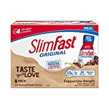 SlimFast Original Cappuccino Delight Shake - Ready to Drink Weight Loss Meal Replacement - 10g of protein -  11 fl. oz. Bottle - 8 Count