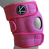 Adjustable Kids Knee Brace Support - Best Knee Support for Youth, Arthritis, ACL, MCL, LCL, Sports Exercise, Meniscus Tear. Open Patella Neoprene Stabilizer Wrap for Children, Boys, Girls (Pink)