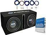 MTX MB210SP Dual 10' 400 Watts RMS Loaded Subwoofer Enclosure with Mono Block Amplifier and 8 Ga. Amp Wiring Kit (1200 Watts MAX Power)
