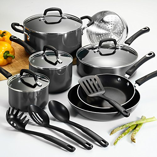 15 Pc Select Gray Nonstick Cookware Set