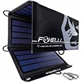 Foxelli Dual USB Solar Charger 10W - Foldable Solar Panel Phone Charger for iPhone X, 8, 7, 6s, iPad & Android, Galaxy S8, S7, S6, S5, Edge & More, Portable Solar Power Charger for Camping & Outdoors