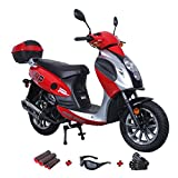 150cc Moped Scooter Motorcycle Scooter 150 Adult Scooter Gas Moped Scooter with Gloves, Sunglasses and Handgrip (Red)