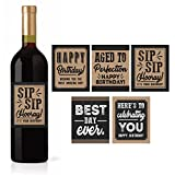 5 Birthday Wine or Beer Bottle Labels or Stickers Present, Bday Gifts For Him Men, Any Age Years Funny Unique Old Kraft Rustic Black Cool Party Decoration Centerpiece Supplies For Husband, Dad, Friend