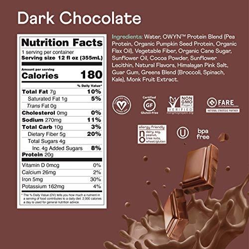 OWYN - 100% Vegan Plant-Based Protein Shakes | Dark Chocolate, 12 Fl Oz (Pack of 12) | Dairy-Free, Gluten-Free, Soy-Free, Tree Nut-Free, Egg-Free, Allergy-Free, Vegetarian 2