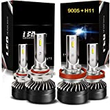 H11/H8/H9 Low Beam 9005/HB3 High Beam LED Headlight Bulbs Combo Package Kit with Fan, DOT Approved AUSI CD6 Series Mini Design Upgraded CSP Chips 6000K Xenon white IP65- 1 Year Warranty (4 Pack)