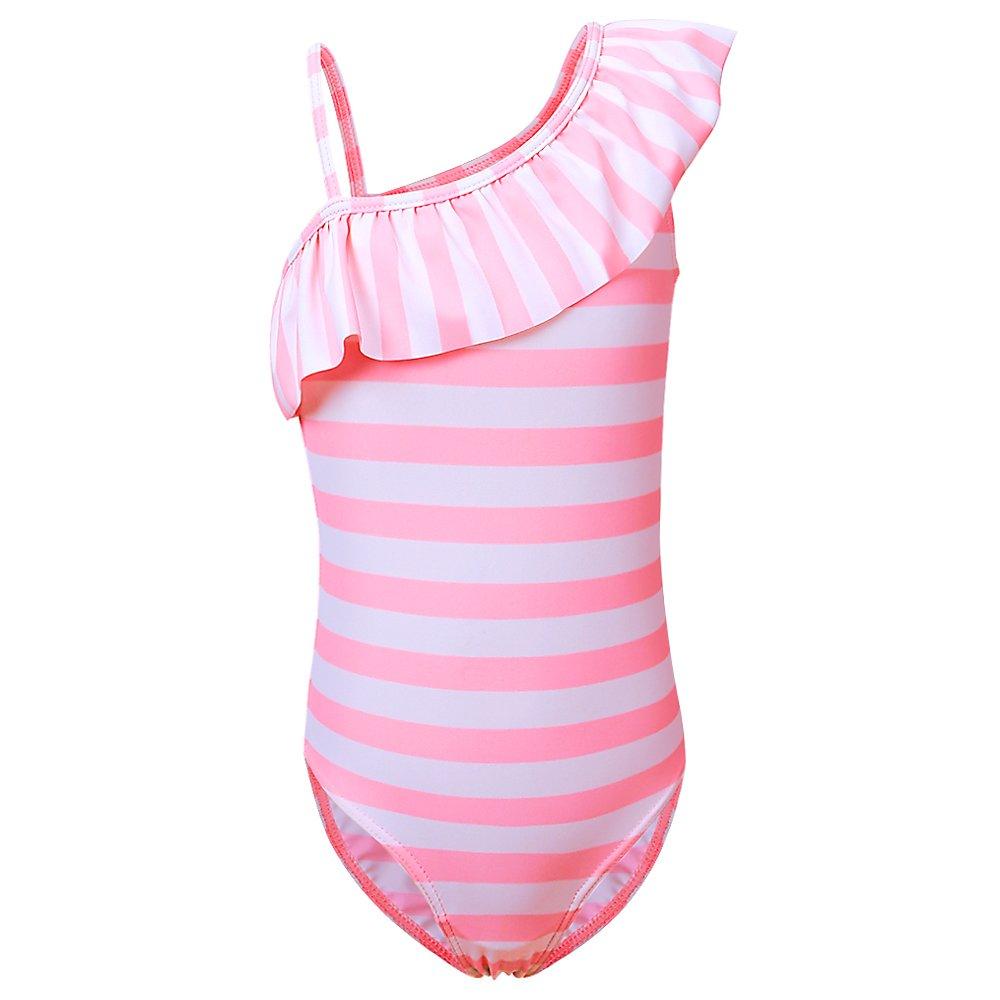dd60347b3 ZNYUNE Niña Traje de Baño Una Pieza Bañador de Playa Raya Rosa Azul Clásico  Lindo para 2-12 años €11