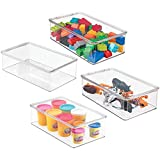 mDesign Stackable Plastic Storage Toy Box Bin with Lid - Container for Organizing Child/Kids Action Figures, Crayons, Markers, Building Blocks, Balls, Puzzles, Crafts - 3' High - 4 Pack - Clear