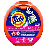 Tide Pods 3 in 1 Liquid Detergent Pacs, Coral Blast Scent, 81 Count Tub - Packaging May Vary