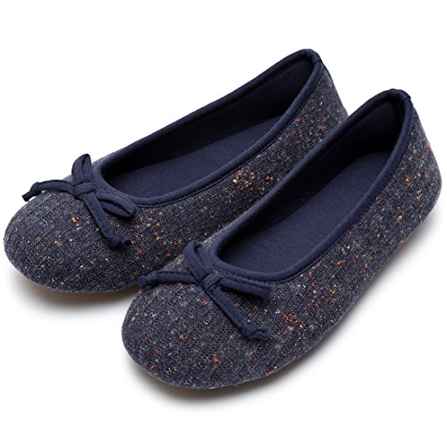 Women's Comfy Colored Knit Memory Foam Ballerina House Slippers Shoes with Anti-Slip Rubber Sole (X-Large / 11-12 B(M) US, Navy Blue)