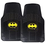Unique Imports Premium Waterproof Batman Rubber Floor Mats - Classic Yellow Logo on 2pc Front Black Heavy Duty Mats - DC Comics Superhero