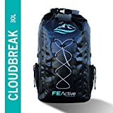 FE Active - 30L Eco Friendly Waterproof Dry Bag Backpack Great All Outdoor Water Related Activities. Padded Shoulder Straps, Corded Exterior Mesh Netting Increased Carrying Capacity