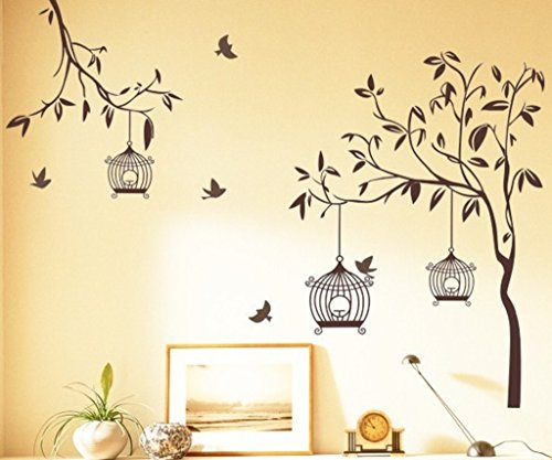 512Mez3HNAL - Decals Design StickersKart Wall Stickers Tree with Birds and Cages (Brown)
