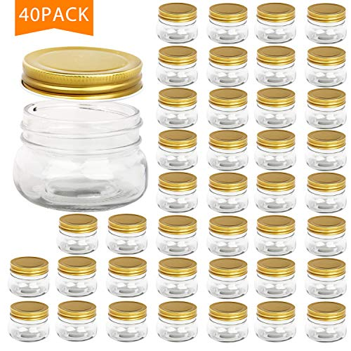 Encheng 5 oz Wide Mouth Mason Jars,Clear Glass Jars with Lids(Golden),Small Spice Jars for Herb,Jelly,Jams,Wedding Favors,Shower Favors,Baby Foods,Mini Canning Jars for Kitchen Storage 40 Pack ...