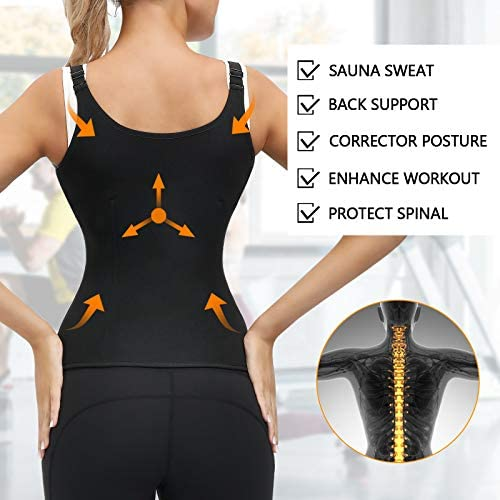 Women Waist Trainer Corset, Zipper Vest Body Shaper Cincher, Shapewear Slimming Sports Girdle, Neoprene Sauna Tank Top with Adjustable Straps 4