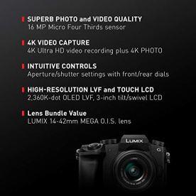 PANASONIC-Lumix-G7-4K-Digital-Camera-with-Lumix-G-VARIO-14-42mm-Mega-OIS-Lens-16-Megapixel-Mirrorless-Camera-3-Inch-LCD-DMC-G7KK-Black