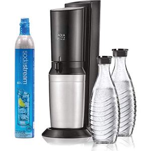 SodaStream Aqua Fizz Sparkling Water Machine (Black) with Co2 & Glass Carafes 10